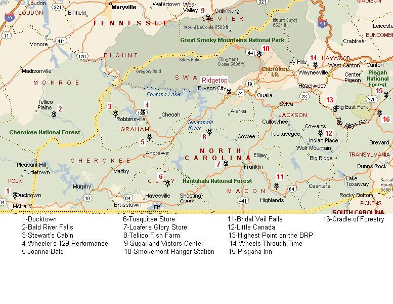2005 Poker Run Map